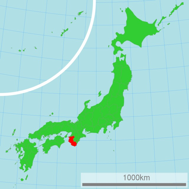Map of Japan with highlight on Wakayama Prefecture