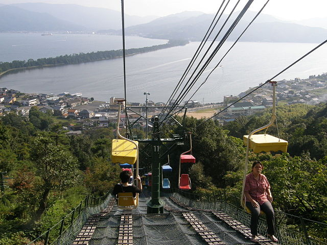The Chairlift Up To Kasamatsu Park - Amanohashidate